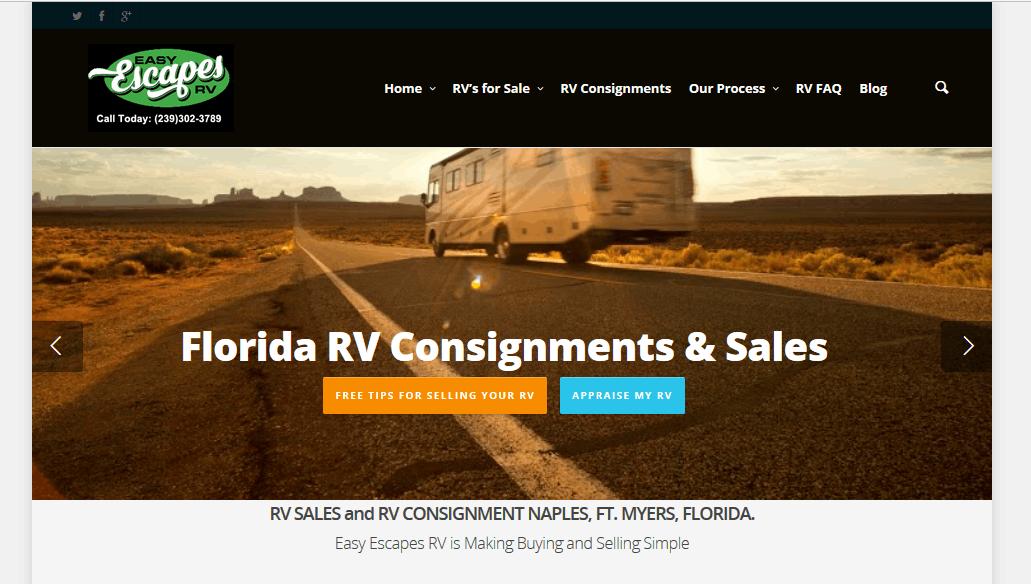 website design RV sales Florida